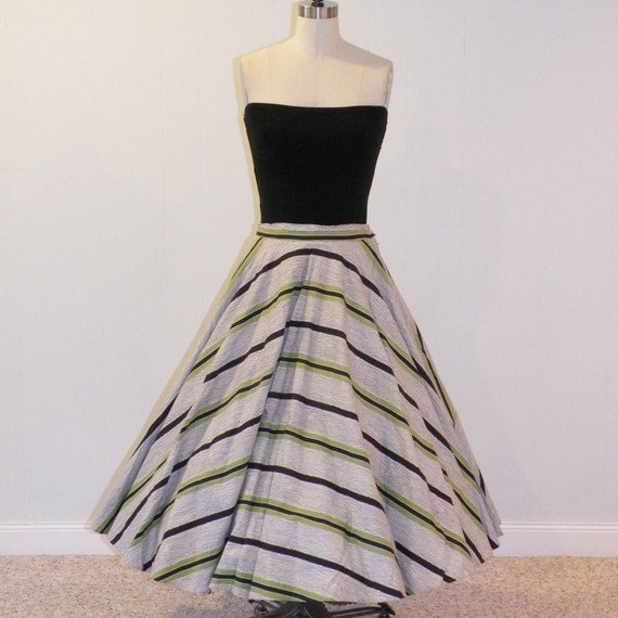 50s Full Circle Skirt, Black & Olive Green Striped Cotton Full Circle Skirt, Rockabilly Swing