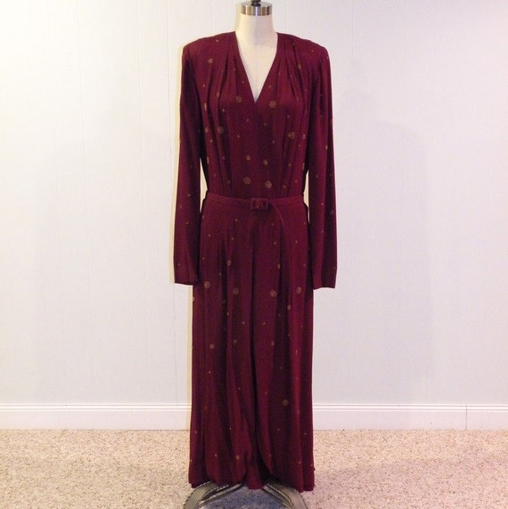 1940s 40s Dress, Burgundy Rayon Crepe Full Length Cocktail Party Evening Dress, Gold Prong-Set Accents, Belted Waist, Hidden Peep Skirt