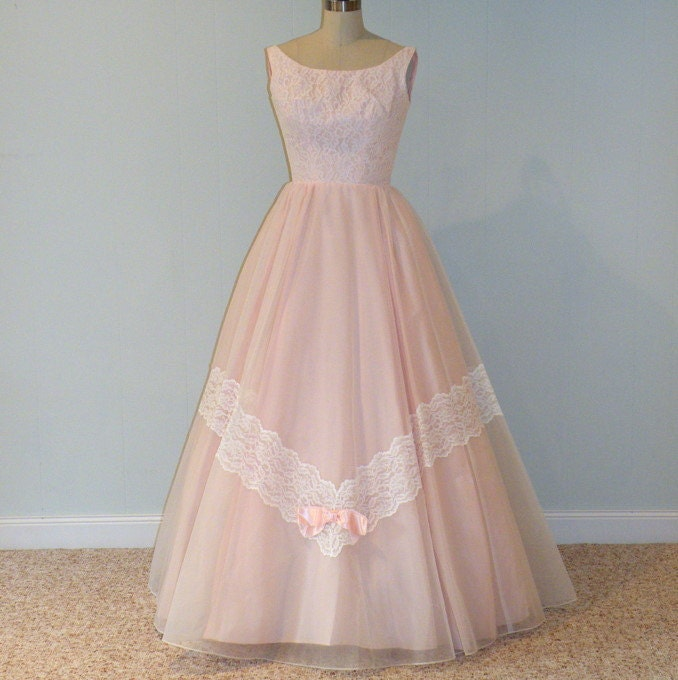 1960s 60s Party Prom Dress Pink Organza Floral Chantilly Lace