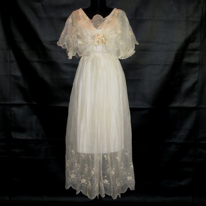 blue and gold wedding dress antique edwardian 1915 dress cotton floral embroidered bridal 1915