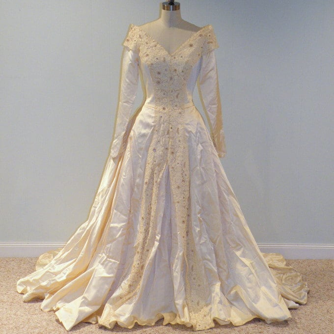 1940s 40s Wedding Dress Ivory Cream Duchess Satin Full Length