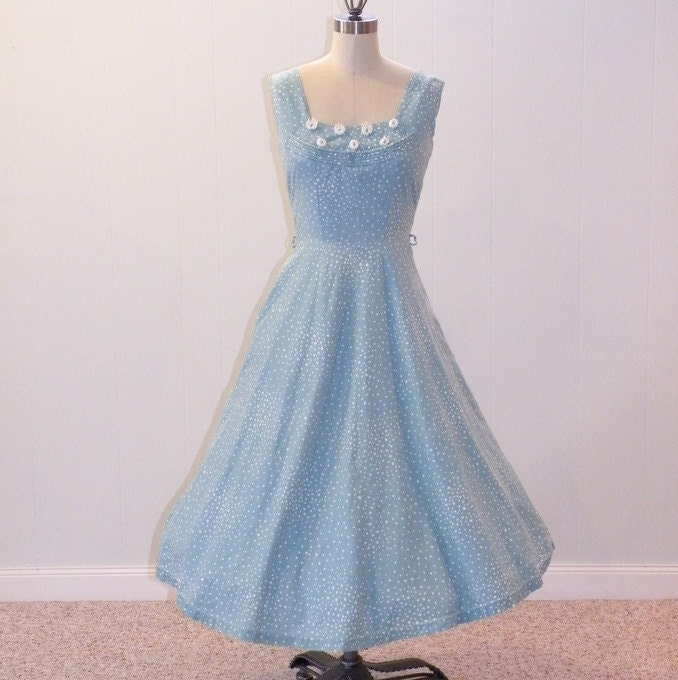 50s Sundress Light Blue Amp White Dotted Cotton Sun Dress
