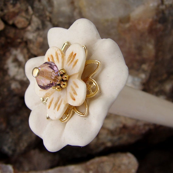 SALE White Porcelain Hair Stick with Bone Floral and Crystal Center Hair Accessory - Bela