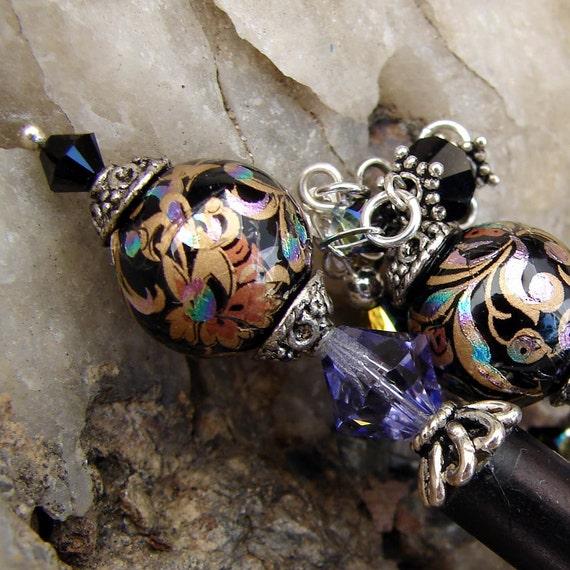 Hair Stick Pair, Black Japanese Tensha Beads with Swarovski Crystals - Tiffany