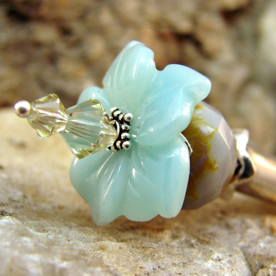 Hair Stick - Amazonite Carved Flower with Swarovski Crystals and Sterling Silver - Pascha
