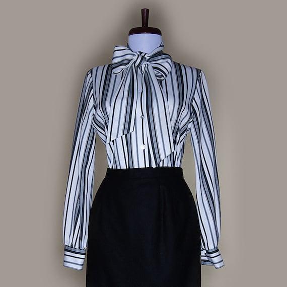 vintage black and white striped secretary blouse