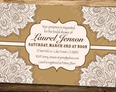 Elegant Pink and Brown- Bridal Shower or Birthday Party Invitation- Digital or Printed