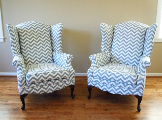 Items similar to pair of reupholstered wing back chairs - How to reupholster a living room chair ...