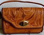 Vintage mini tooled leather purse