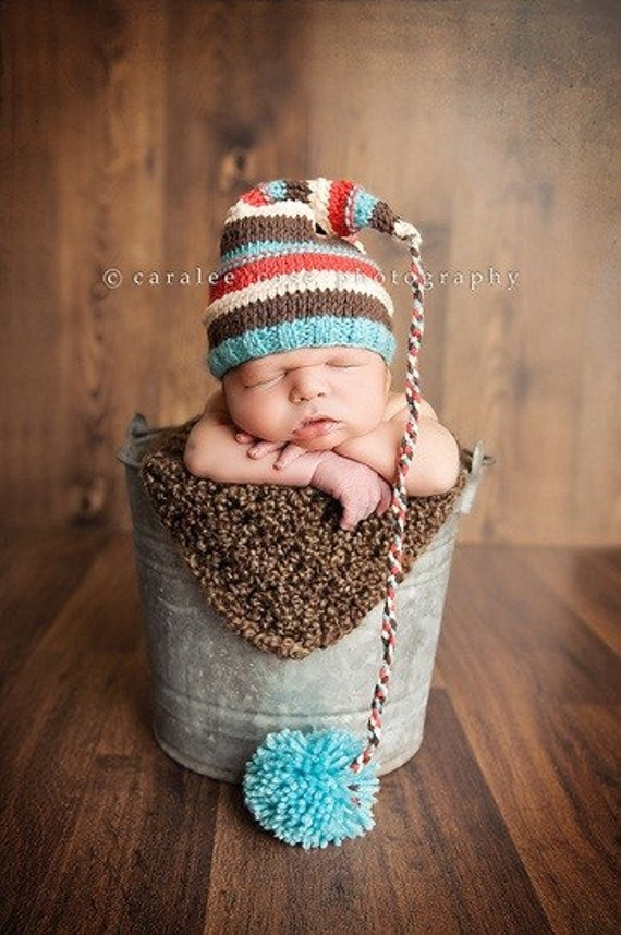 Aqua, brown, cream and red striped elf hat - MADE TO ORDER