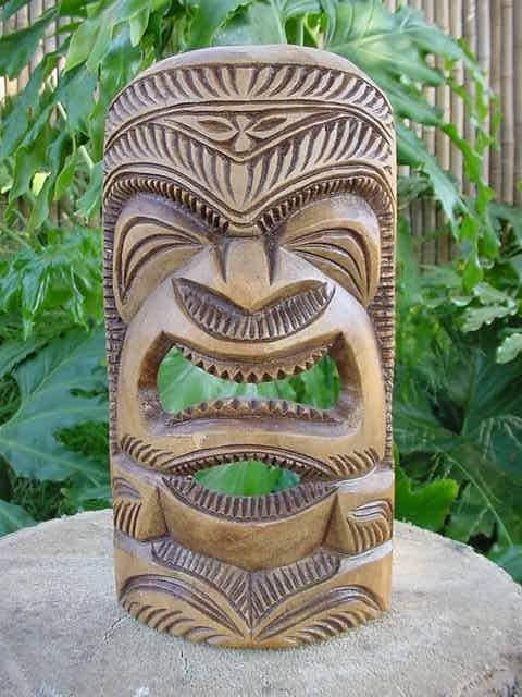 Vintage Hand Carved Hawaiian Tiki Statue-Polynesian wood