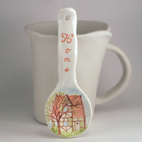 Ceramic spoon majolica painting of the cottage