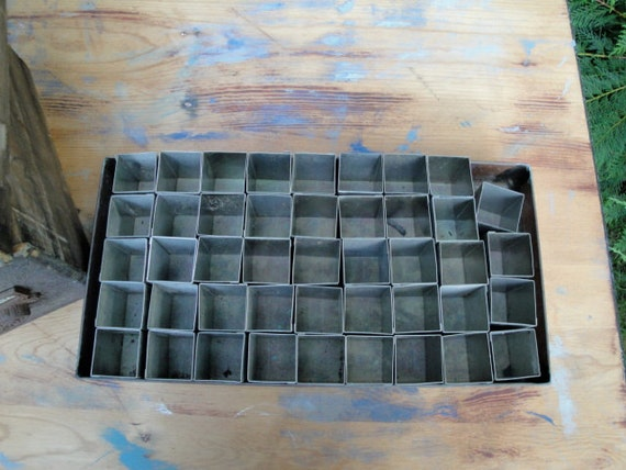 Vintage copper seedling tray with stainless inserts