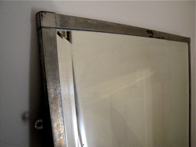 vintage industrial metal framed beveled mirror zoom