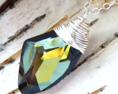 Swarovski Crystal Necklace, Gold, Olive Green, & Montana Blue Galactic Wire Wrapped Pendant - Sterling Silver Necklace, Fashion