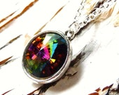 Crystal Swarovski Prism Necklace, Green Rainbow Rivoli Pendant, Olive Green,  Fuchsia, Watermelon Pink, Montana Blue Hues, Christmas Gift