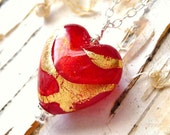 Red Glass Heart Necklace, Lampwork Glass Necklace, Gold Foiled Swirled Heart, Sterling Silver Neckalce, Fashion