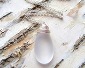 White Sea Glass Necklace, Frosted White Glass Teardrop Necklace, Wire Wrapped Necklace, JBMDesigns, Fashion