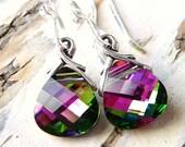 Magenta Green Swarovski Crystal Earrings, Magenta Pink & Green Crystals Sterling Silver Earrings, Spring Fashion, JBMDesigns