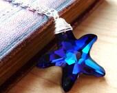 Starfish Necklace, Bermuda Blue Swarovski Starfish Necklace, Ocean Nautical Starfish Crystal Wire Wrapped Pendant Sterling Silver