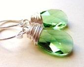 Spring Green Swarovski Earrings, Peridot Green Crystal Teardrops, Sterling Silver, Wire Wrapped, Summer Fashion