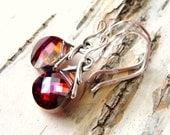 Swarovski Crystal Earrings, Violet, Topaz Orange, Red Swarovski Briolettes, Sterling Silver Earrings, Gift for Her, Crystal Dangle Earrings