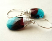 Swarovski Crystal Earrings, Blue Zircon & Burgundy Pear Crystals, Wire Wrapped Sterling Silver Earrings, Summer Fashion
