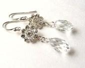 Wedding Earrings, Rhinestone Flower Crystal Earrings, Swarovski Clear Crystal Rhinestone Teardrops, Sterling Silver, Bridal Earrings