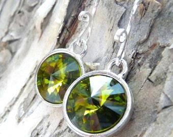 Olive Green Crystal Earrings, Swarovski Crystal Earrings, Sterling Silver Earrings, Rivoli Earrings, Gift for Her, Christmas Gift