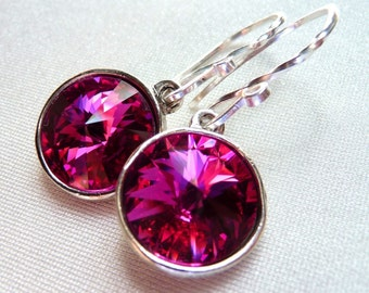 Swarovski Fuchsia Drop Earrings, Hot Pink Crystal Briolette Rivolis, Sterling Silver Dangle Earrings, Fashion, Under 25