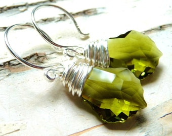 Olive Green Crystal Earrings - Swarovski Wire Wrapped Crystal Earrings, Sterling Silver Earrings, JBMDesigns, Fashion