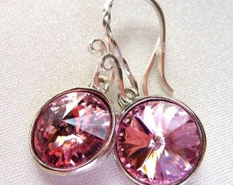 Blush Pink Swarovski Crystal Earrings, Rivoli Round Dangle Drop Earrings, Light Rose Earrings, Gift for Her, Bridesmaid Gifts