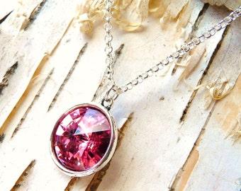 Pink Swarovski Crystal Necklace, Blush Rose Pink Rivoli Pendant, Pink Pendant, Pink Crystal, Gift for Her, Mothers Day Gift, JBMDesigns