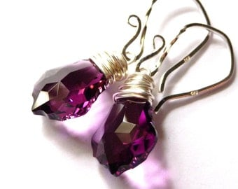 Amethyst Purple Earrings,  Swarovski Baroque Crystal Briolette Sterling Silver Wire Wrapped, Fashion, Under 25 For Women