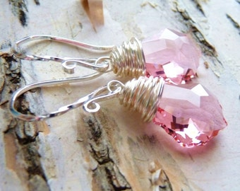 Pink Swarovski Crystal Earrings, Pastel Pink Crystal Wire Wrapped Sterling Silver Earrings, Fashion, Bridesmaid Jewelry, Wedding Earrings