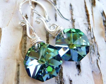 Crystal Earrings, Sea Green & Blue Crystal Octagon Briolettes, Wire Wrapped Earrings, Sterling, Fashion