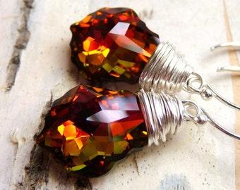 Orange Swarovski Crystal Earrings, Golden Orange Red Wire Wrapped Earrings, Tropical Sunset, Baroque, Sterling Silver, Fall Earrings, Autumn