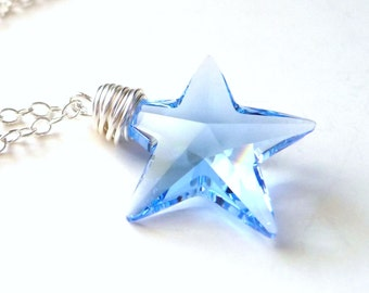 Blue Star Necklace, Light Sapphire Blue Swarovski Star Crystal, Sterling Silver, Handmade, JBMDesigns