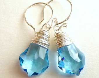 Aquamarine Blue Swarovski Earrings, Crystal Baroque Wire Wrapped Sterling Silver Earrings, Fashion, Ocean Earrings
