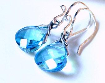 Aquamarine Blue Swarovski Crystal Earrings, Sky Blue Crystal Briolette Earrings, Sterling Silver Earrings, Bridesmaid Gifts