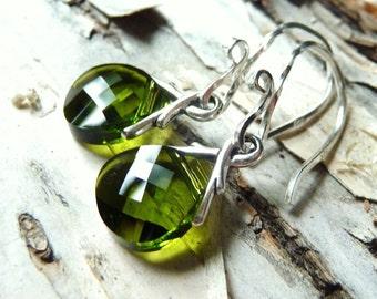 Green Crystal Earrings, Olive Green Swarovski Glass Briolettes, Sterling Silver Earrings, Woodland, Earthy Earrings