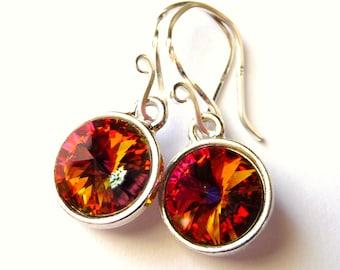 Orange Swarovski Crystal Earrings, Orange, Yellow, Magenta- Swarovski Prism Crystal Briolette Rivolis, Sterling Silver, Fashion