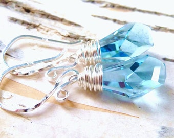 Aquamarine Earrings, Blue Swarovski Polygon Crystal Wire Wrapped Sterling Silver, Light Blue, Teardrop Earrings, Spring Fashion