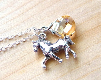 Horse Charm Necklace, Golden Champagne Swarovski Briolette Crystal & Silver Horse Charm Sterling Silver Necklace, Equestrian, Christmas Gift