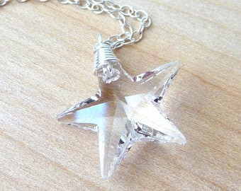 Clear Swarovski Crystal Star Necklace, Wire Wrapped Glass Crystal Handmade Sterling Silver Necklace, Fashion