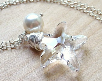 Swarovski Starfish Necklace, Clear Crystal & White Pearl, Wire Wrapped Pendant Sterling Silver, Charm Necklace, Beach Wedding