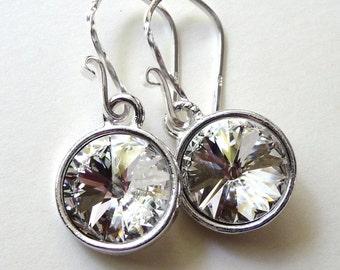 Swarovski Clear Diamond Crystal Earrings, Clear Crystal Rivolis, Sterling Silver, JBMDesigns, Bridal Earrings