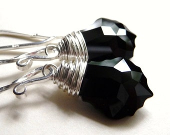 Jet Black Swarovski Baroque Crystal Briolette Sterling Silver Dangle Handmade Wire Wrapped Earrings