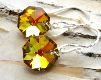 Orange Crystal Earrings, Topaz Orange & Yellow Octagon Glass Briolettes, Sterling Silver, Fall Fashion, Autumn Earrings
