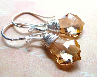 Crystal Earrings, Swarovski Golden Champagne Briolettes, Sterling Silver , Wire Wrapped, Handmade